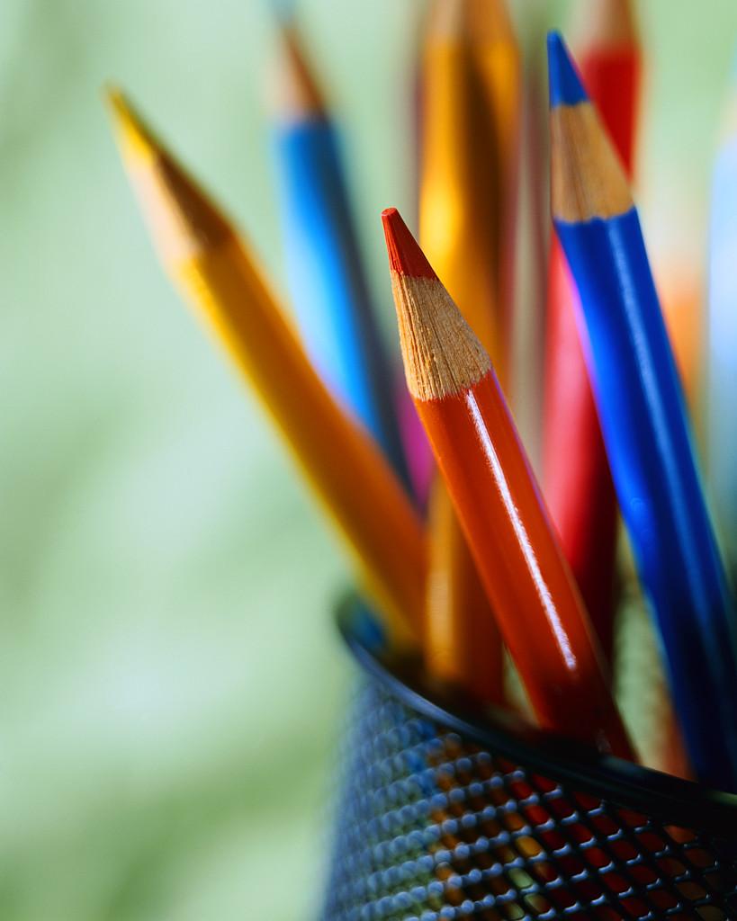 Multicolored Pencils in Pencil Cup