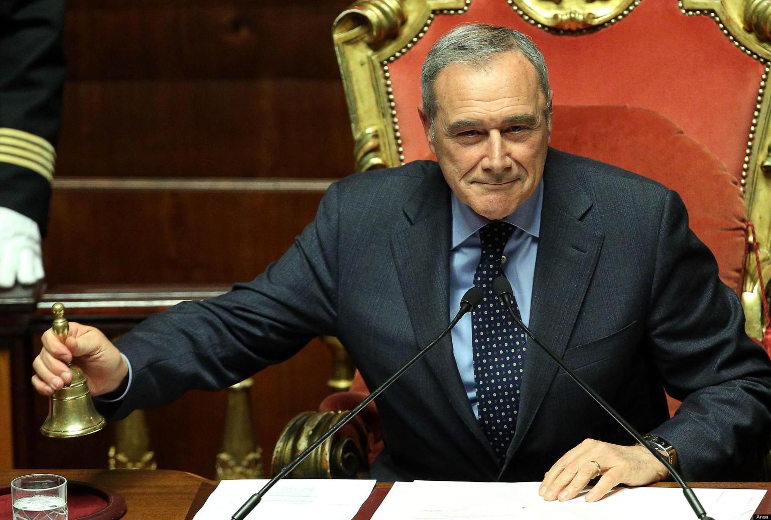 Pietro Grasso, neopresidente del Senato, durante il discorso dopo la sua elezione nell'aula del Senato, Roma, 16 marzo 2013.  ANSA/ ALESSANDRO DI MEO