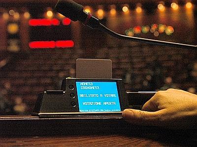 Roma, 4 marzo 2009, Montecitorio : prove di voto elettronico alla Camera dei deputati